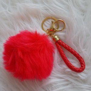 Red pom pom keychain